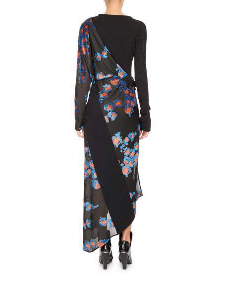 Floral Jacquard Draped Midi Dress