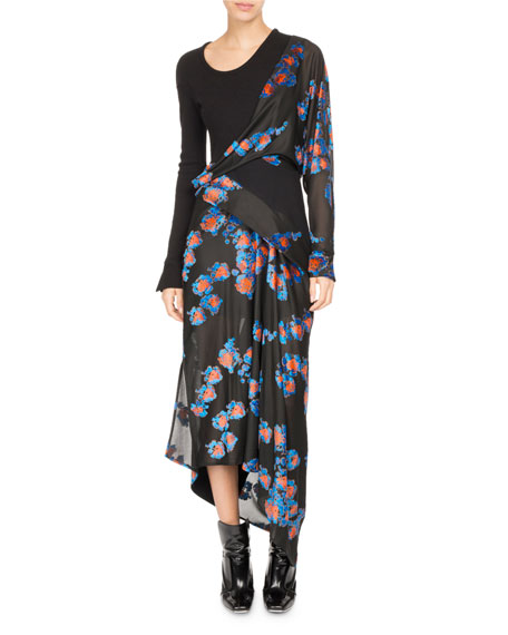 Atlein Floral Jacquard Draped Midi Dress