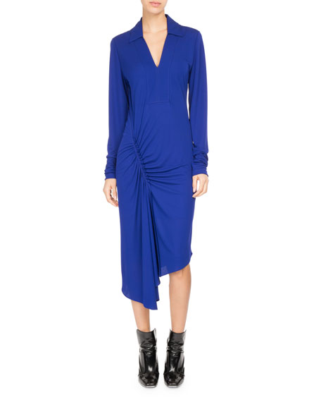 Ruched Jersey Asymmetric Midi Dress