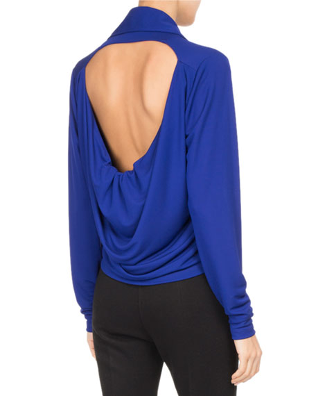 Draped Jersey Cutout-Back Top