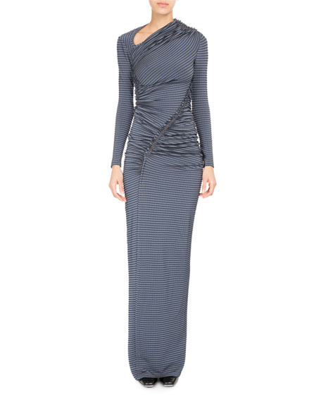 Striped-Dot Ruched Jersey Gown