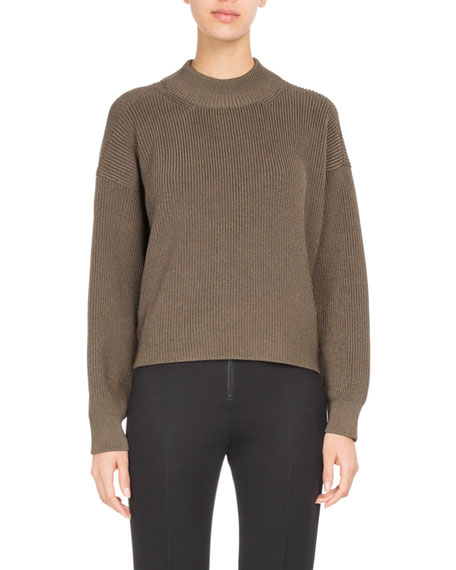 Twist-Front Ribbed Mock-Neck Sweater