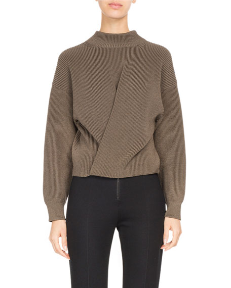 Atlein Twist-Front Ribbed Mock-Neck Sweater