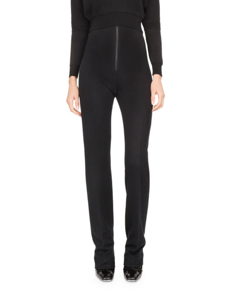 Atlein High-Waist Zip-Front Slim Trousers
