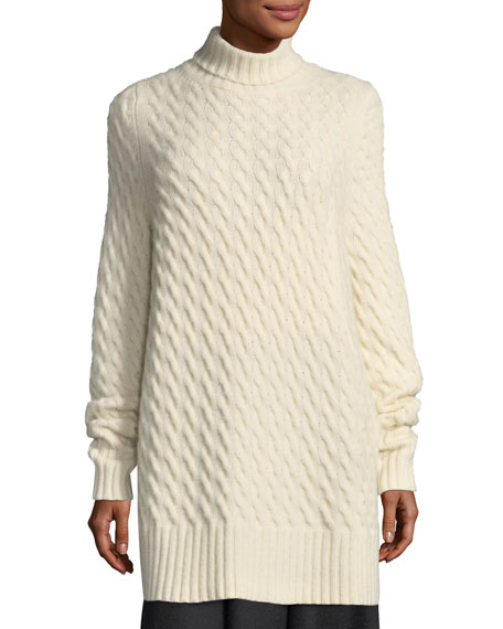 THE ROW Landi Cable-Knit Cashmere Tunic Sweater and Matching Items