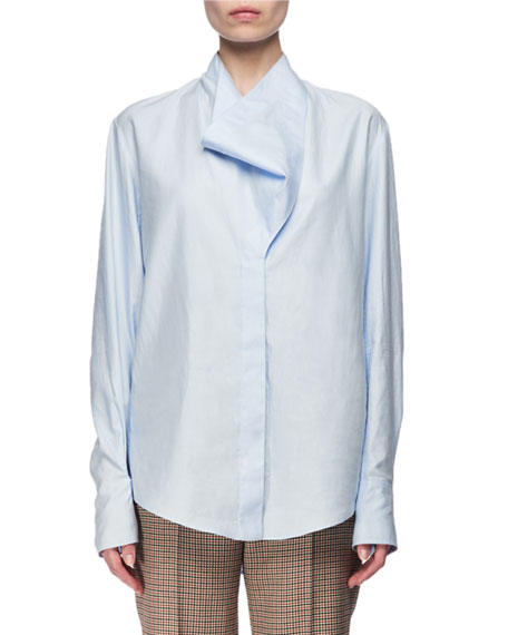 Cowl-Neck Poplin Shirt