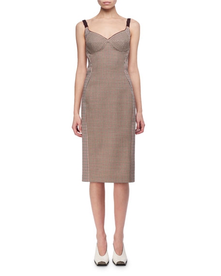 Stella McCartney Mixed-Check Wool Bustier Pencil Dress and