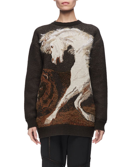 Horse Intarsia Virgin Wool Crewneck Sweater