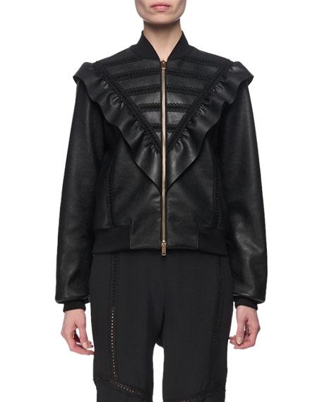 Macie Faux-Leather Ruffle-Bib Bomber Jacket