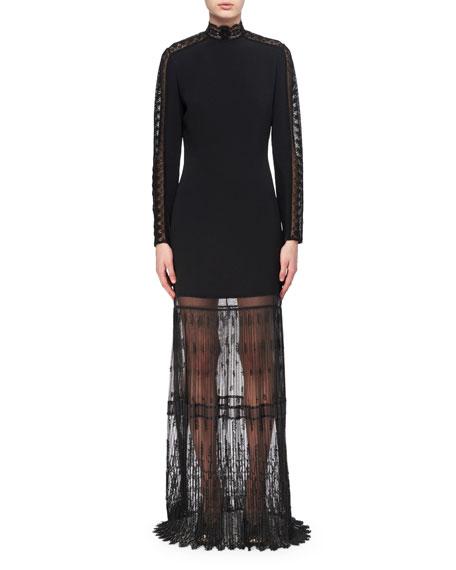 Lace-Trim Cady Mock-Neck Gown