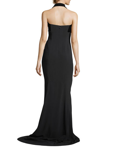 Sweetheart-Neck Halter Velvet Evening Gown