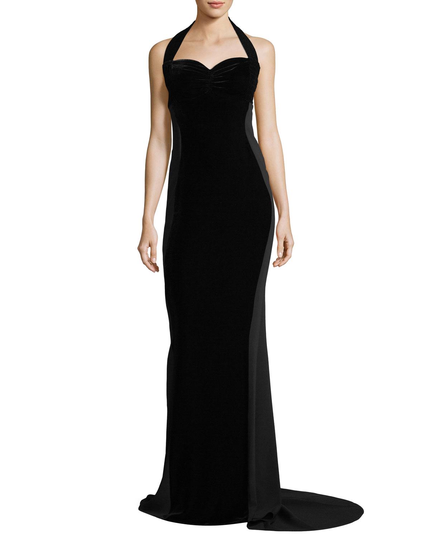 Stella Mccartney Sweetheart Neck Halter Velvet Evening Gown Neiman