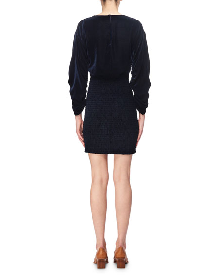 Pacey Velvet Smocked V-Neck Minidress