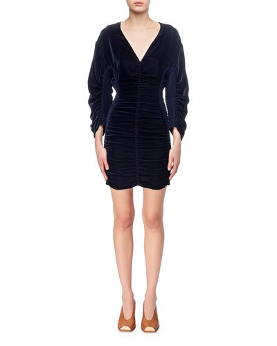 Pacey Velvet Smocked V-Neck Minidress