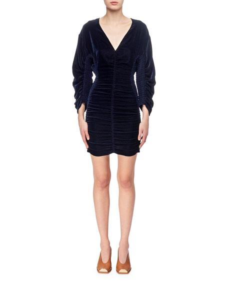 Stella McCartney Pacey Velvet Smocked V-Neck Minidress