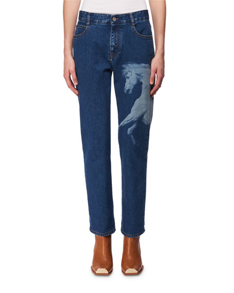 Stella McCartney Horse-Print Cropped Straight-Leg Jeans and