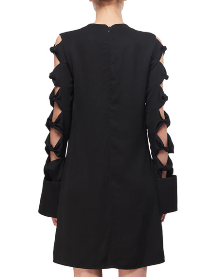 Knotted-Sleeve A-Line Minidress