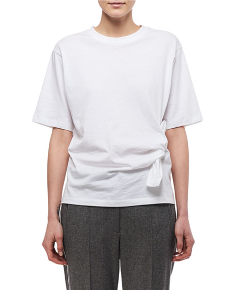 Knotted-Side Cotton T-Shirt, White