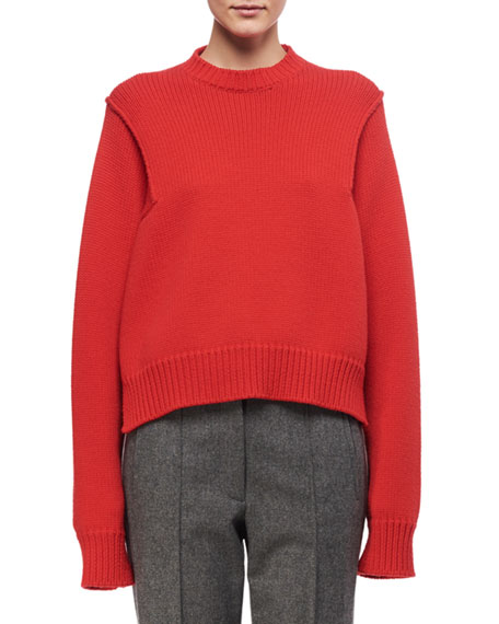 Side-Stitch Oversized Crewneck Sweater