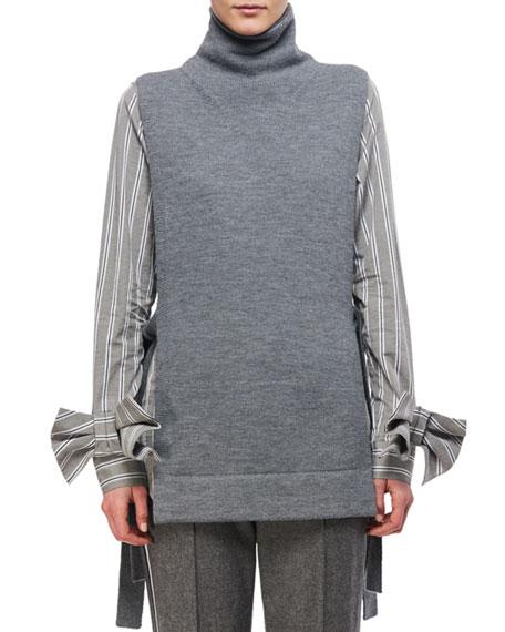Tie-Side Merino Wool Turtleneck Tunic