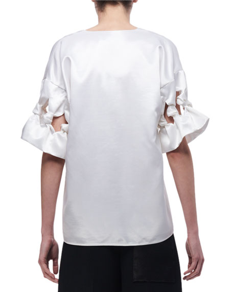 Knotted-Sleeve Satin Top