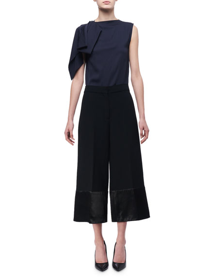 Satin-Trim High-Rise Culottes