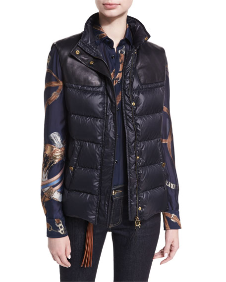 Ralph Lauren Collection Taryn Leather-Trim Down Vest with