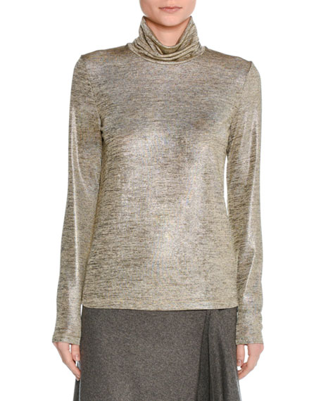 Iridescent Melange Turtleneck Top