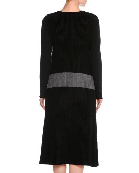 Sleeveless Wool Colorblock Cardigan Sweater Dress