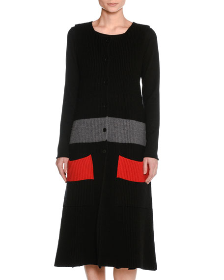 Sleeveless Wool Colorblock Cardigan Sweater Dress