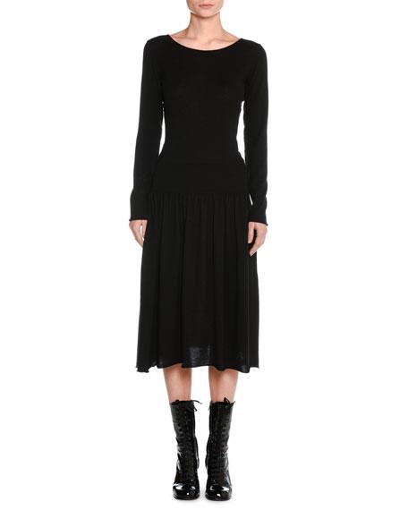 Cashmere Drop-Waist Sweater Dress