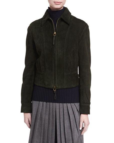 Garret Suede Zip-Front Jacket