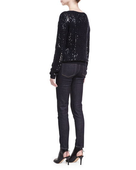 Sequined Cable-Knit Silk-Nylon Sweater