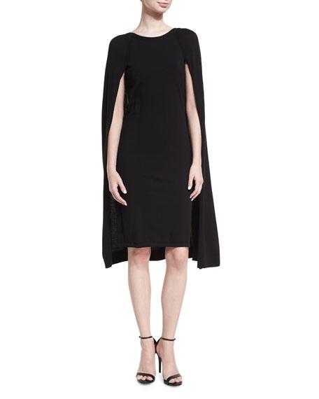 Merino Wool-Blend Cape Dress