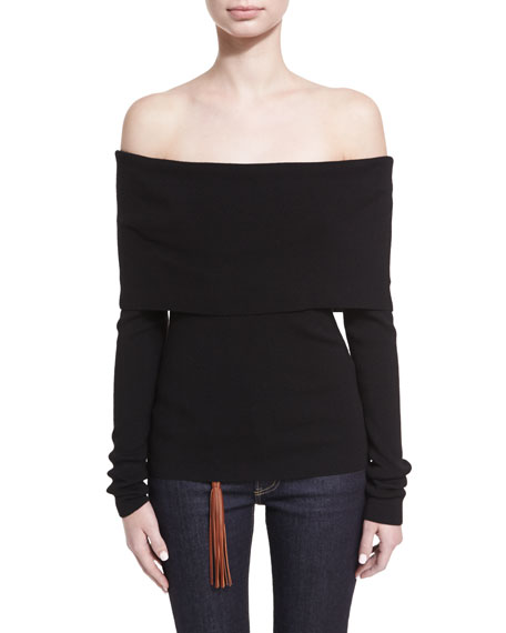 Off-the-Shoulder Merino Wool-Blend Top