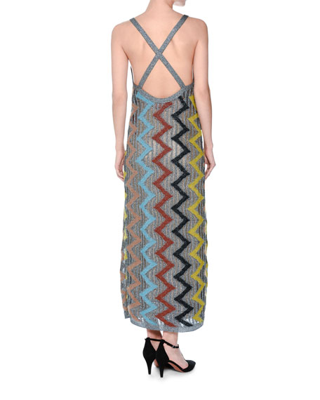 Metallic Zigzag Sleeveless Gown