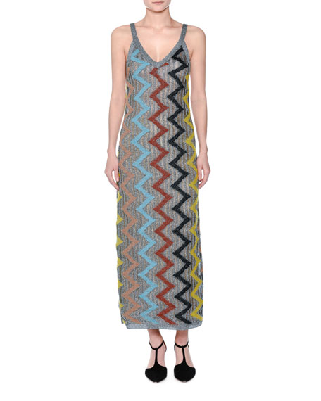 Metallic Zigzag Sleeveless Gown