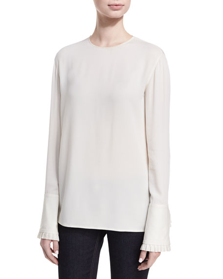 Ralph Lauren Collection Lara Silk Georgette Ruffle-Cuff Blouse