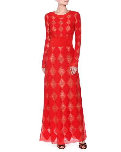 Long-Sleeve Rombi Knit Gown