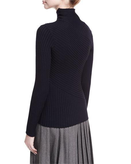 Ribbed Merino Wool-Blend Mock-Neck Sweater