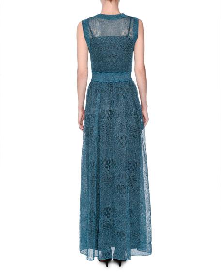 Sleeveless Lamé Knit Gown