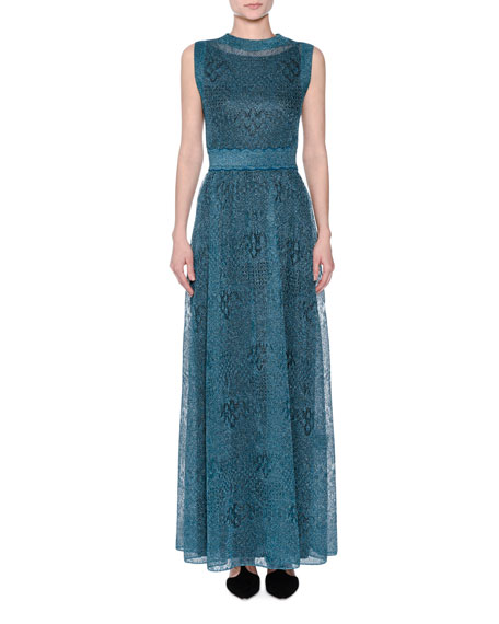 Sleeveless Lamé Knit Gown