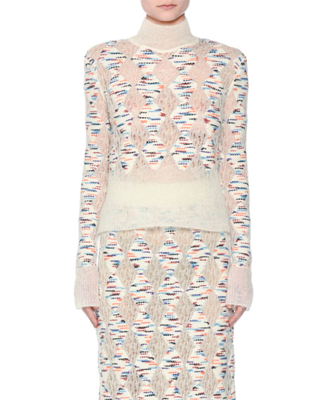 Missoni Open-Knit Confetti-Diamond Turtleneck Sweater