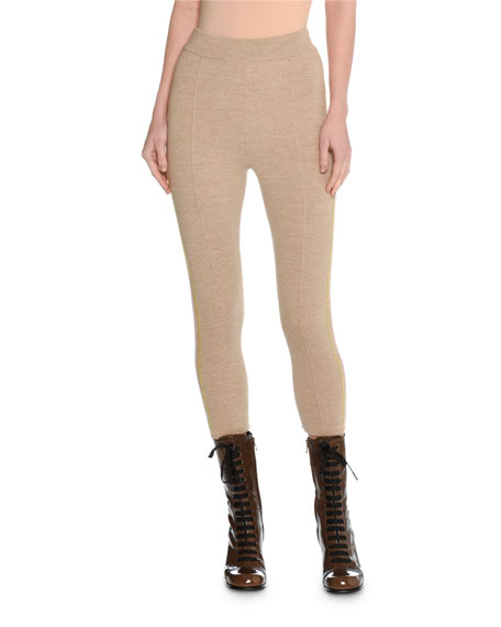 Trompe l'Oeil Felted Wool Cropped Track Pants