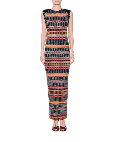 Missoni Graphic Ribbed Sleeveless Maxi Dress