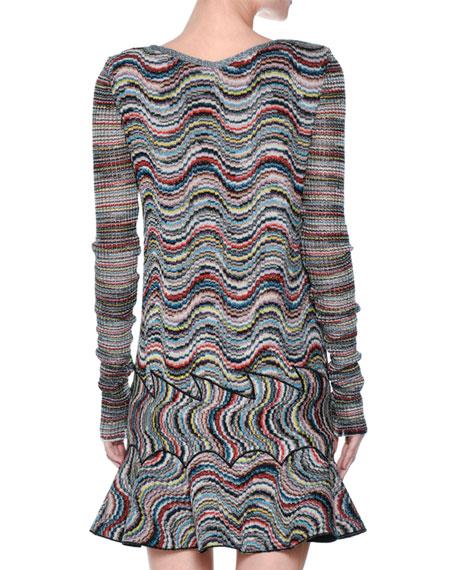 Wavy Rainbow Lamé Flounce Minidress