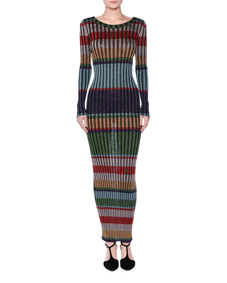 Striped Lamé Maxi Dress