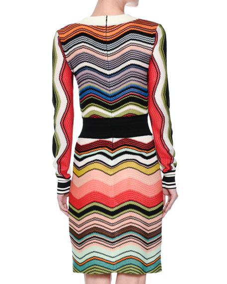 Wave-Knit Long-Sleeve Dress