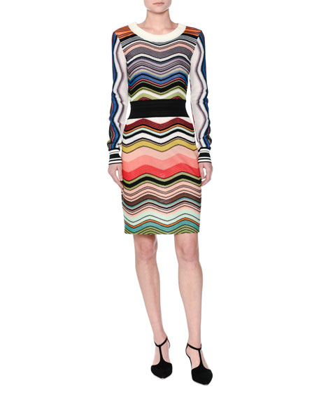 Missoni Wave-Knit Long-Sleeve Dress