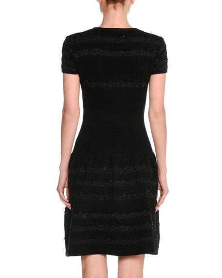Metallic-Stripe Wool Short-Sleeve V-Neck Dress